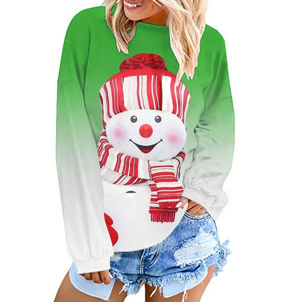 Aunimeifly Womens Cartoon Snowman Printed Pullover Ladies Loose Long Sleeve Sweatshirt Christmas Dyed Tops(M,Green) by Aunimeifly