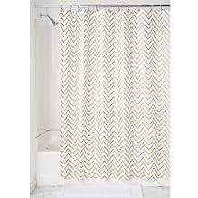 InterDesign Sketched Chevron Soft Fabric Long Shower Curtain, 72x84-Inch, Gold