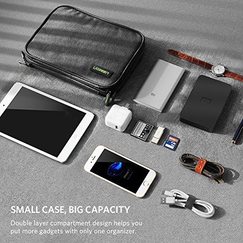 6a4f06c246e2 UGREEN Organizador Accesorios Electrónicos con Compartimentos Bolsa  Portable para GuardarDisco Duro, USB Cables, Batería
