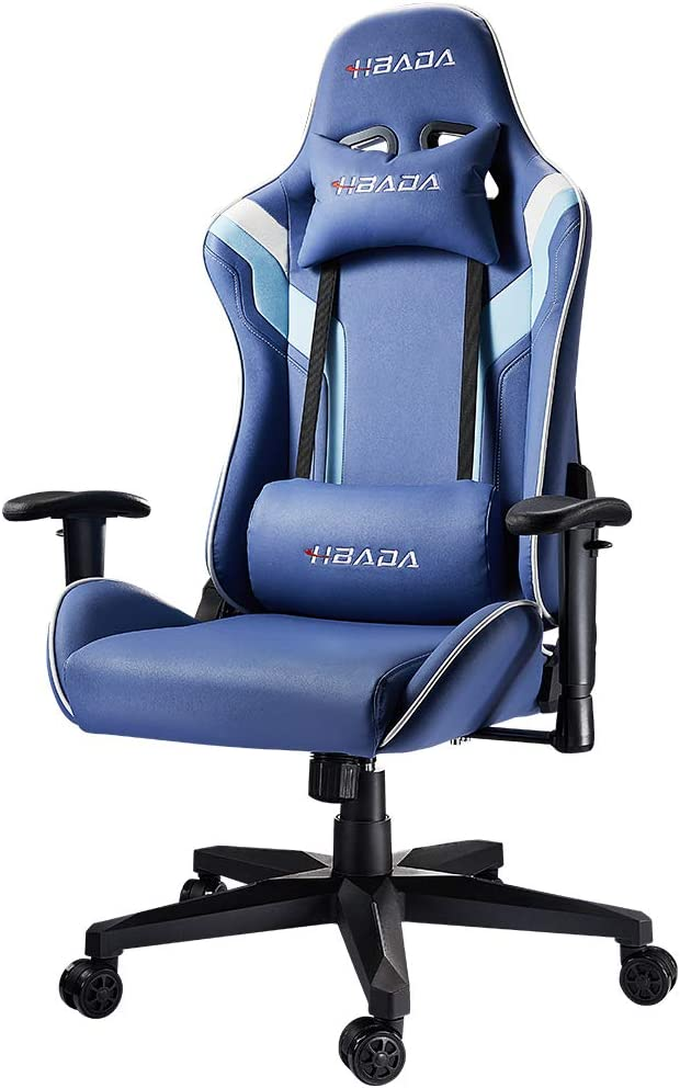 Hbada Gaming Chair Racing Style Ergonomic High-Back Computer Chair with Height Adjustment, Headrest and Lumbar Support E-Sports Swivel Chair, Blue