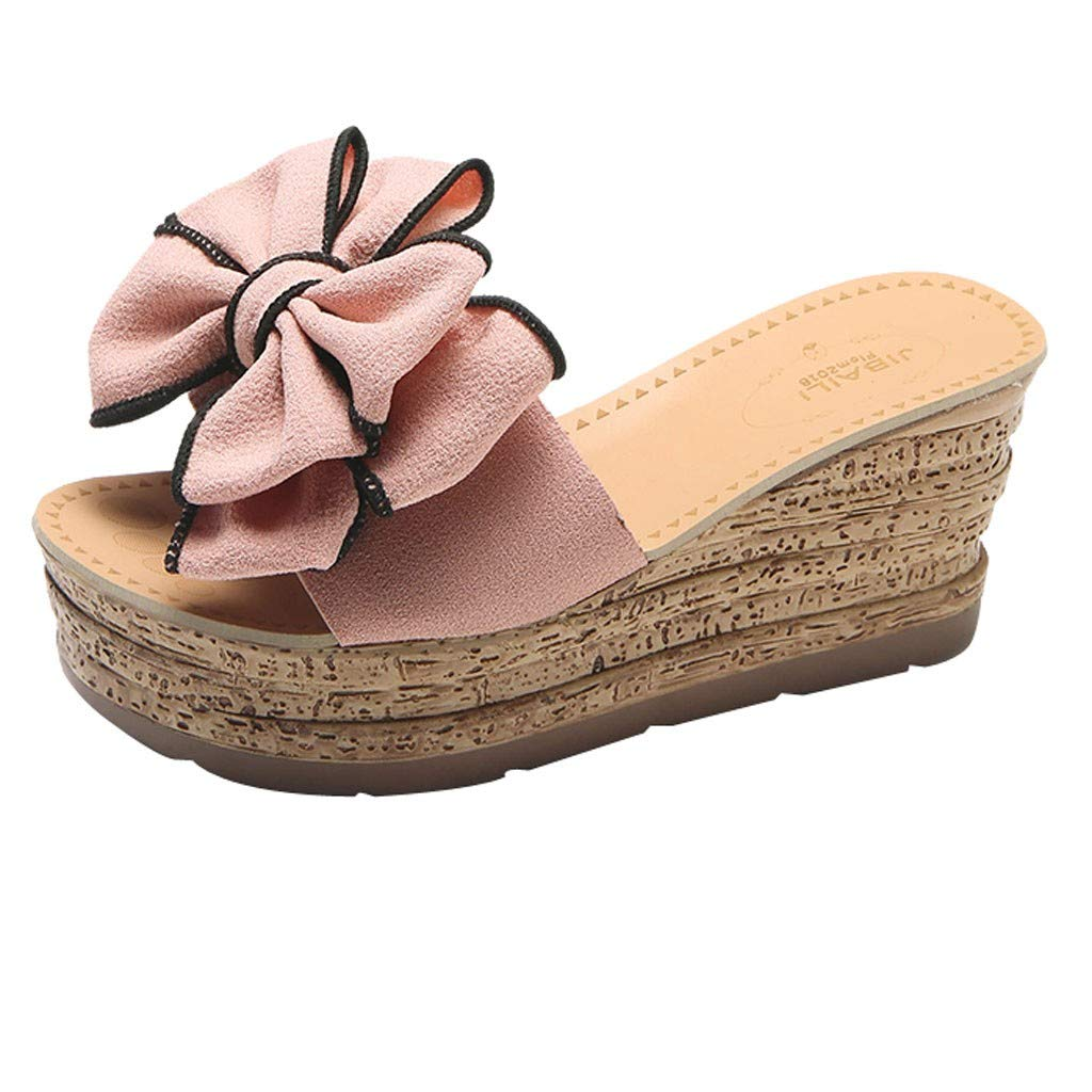 ♡QueenBB♡ Womens Platform Slip On Espadrille Wedge Slide Sandals Bowtie Knot Open Toe Summer Mules Shoes Pink