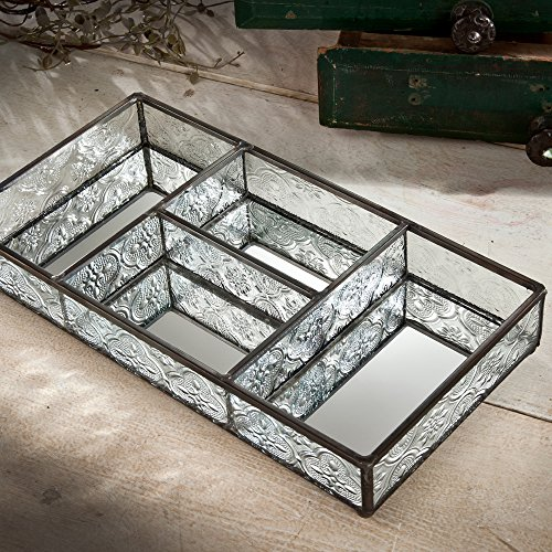 J Devlin Tra 107-1 Clear Vintage Glass Jewelry Tray With Dividers Vanity (Glass Dresser Box)
