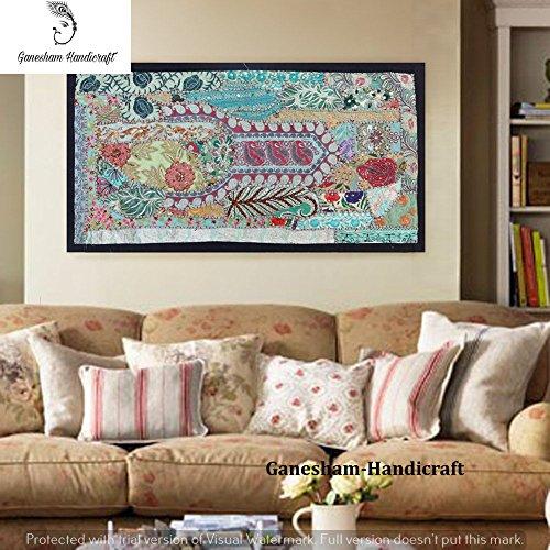 (Indian handmade Wall Hanging Vintage Hippie Bohemian Home Decor patchwork Tapestries , Headboard tapestries, Hand Embroidered Vintage Tapestry, Indian Vintage Banjara Poster Table Runners Door Valance)