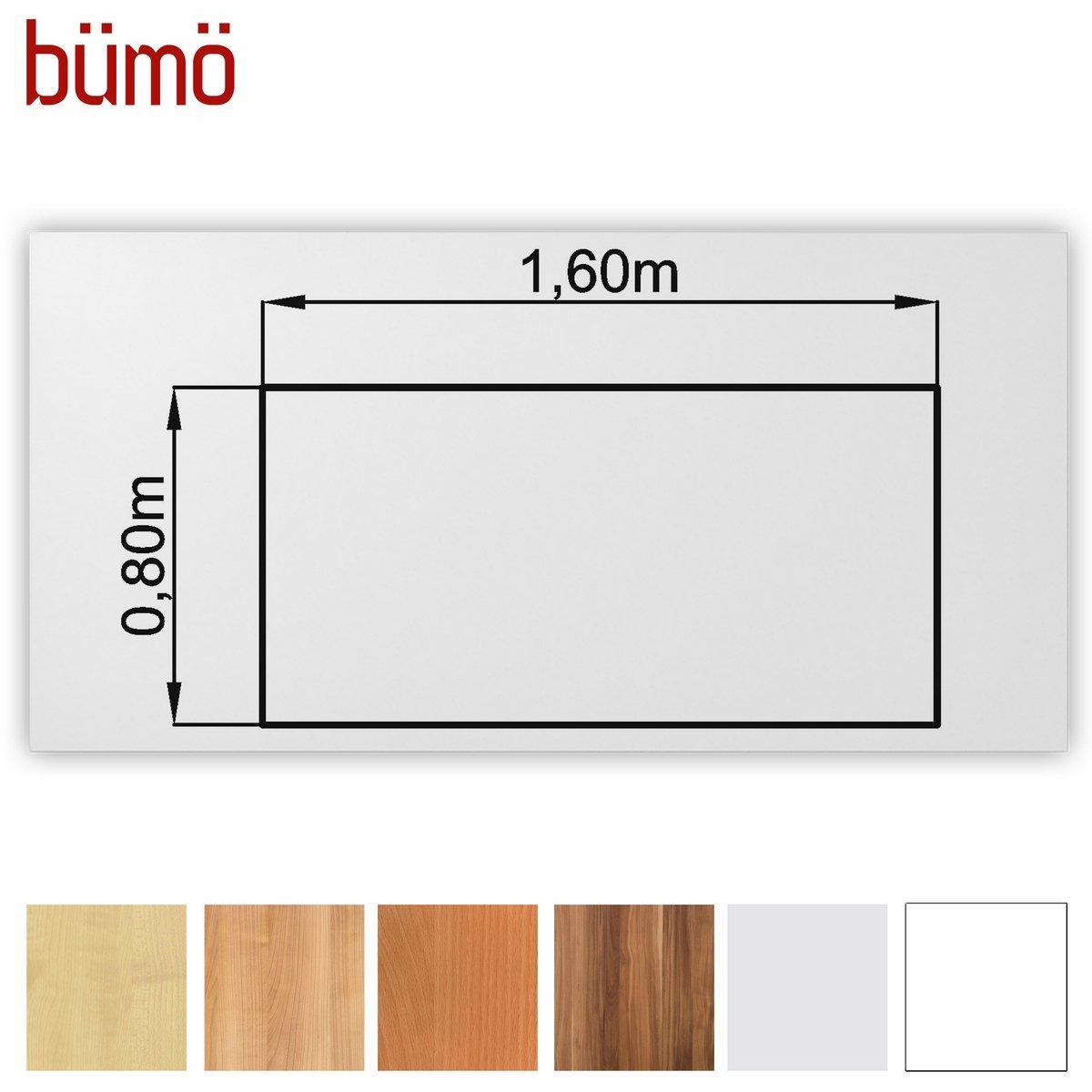 Bümö® stabile Tischplatte 2,5 cm stark - DIY Schreibtischplatte aus Holz   Bürotischplatte belastbar mit 120 kg   Spanholzplatte in vielen Formen & Dekoren  Platte für Büro, Tisch & mehr (Rechte