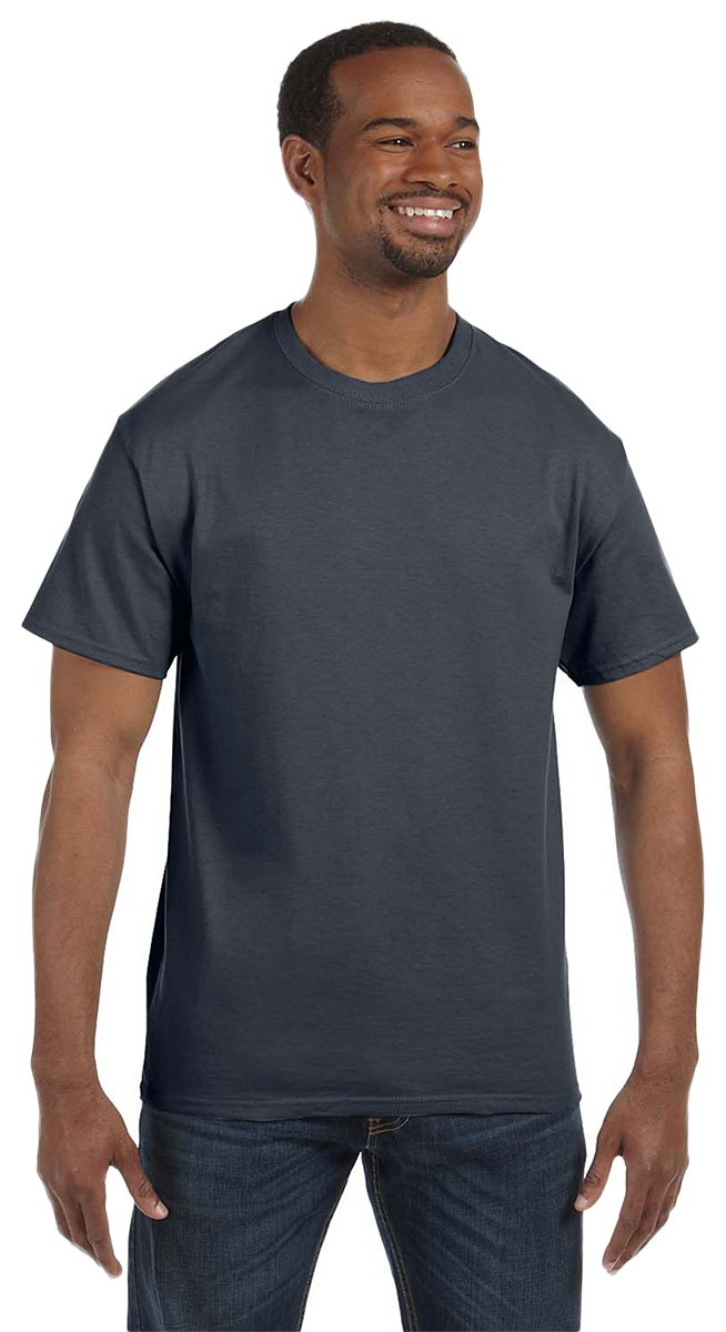 Gildan Men's Heavy Taped Neck Jersey T-Shirt, Charcoal, XXXXX-Large