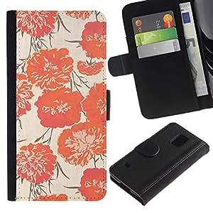 SAMSUNG Galaxy S5 V / i9600 / SM-G900 Modelo colorido cuero carpeta tirón caso cubierta piel Holster Funda protección - Peach Vignette Wallpaper Flowers