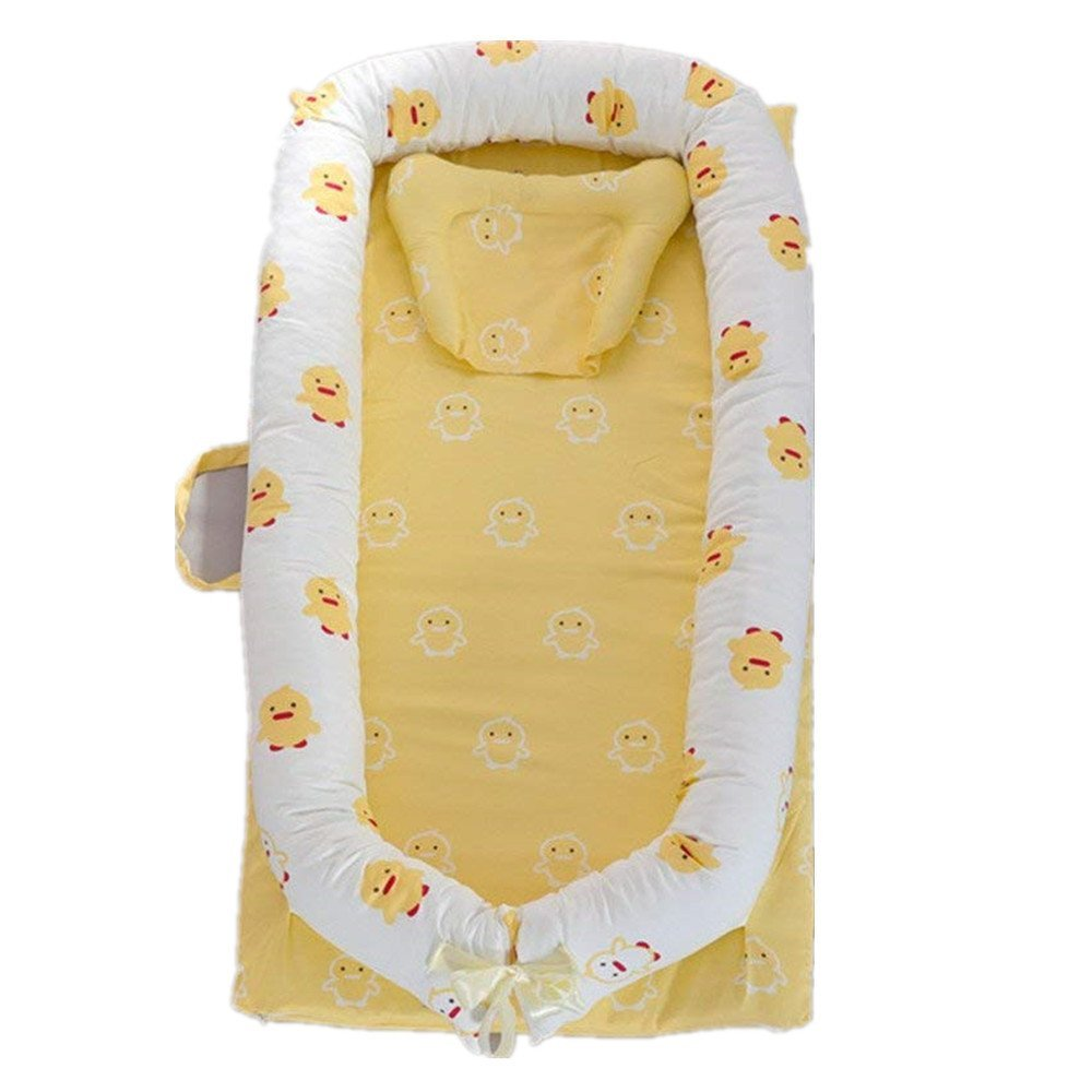 Abreeze Baby Lounger,Infant Lounger,Newborn Lounger: Breathable,Hypoallergenic-Perfect for Co-Sleeping,Cotton Portable Travel Infant Bed,Crib,Bassinet,or Yellow Duck Bear Baby Nest
