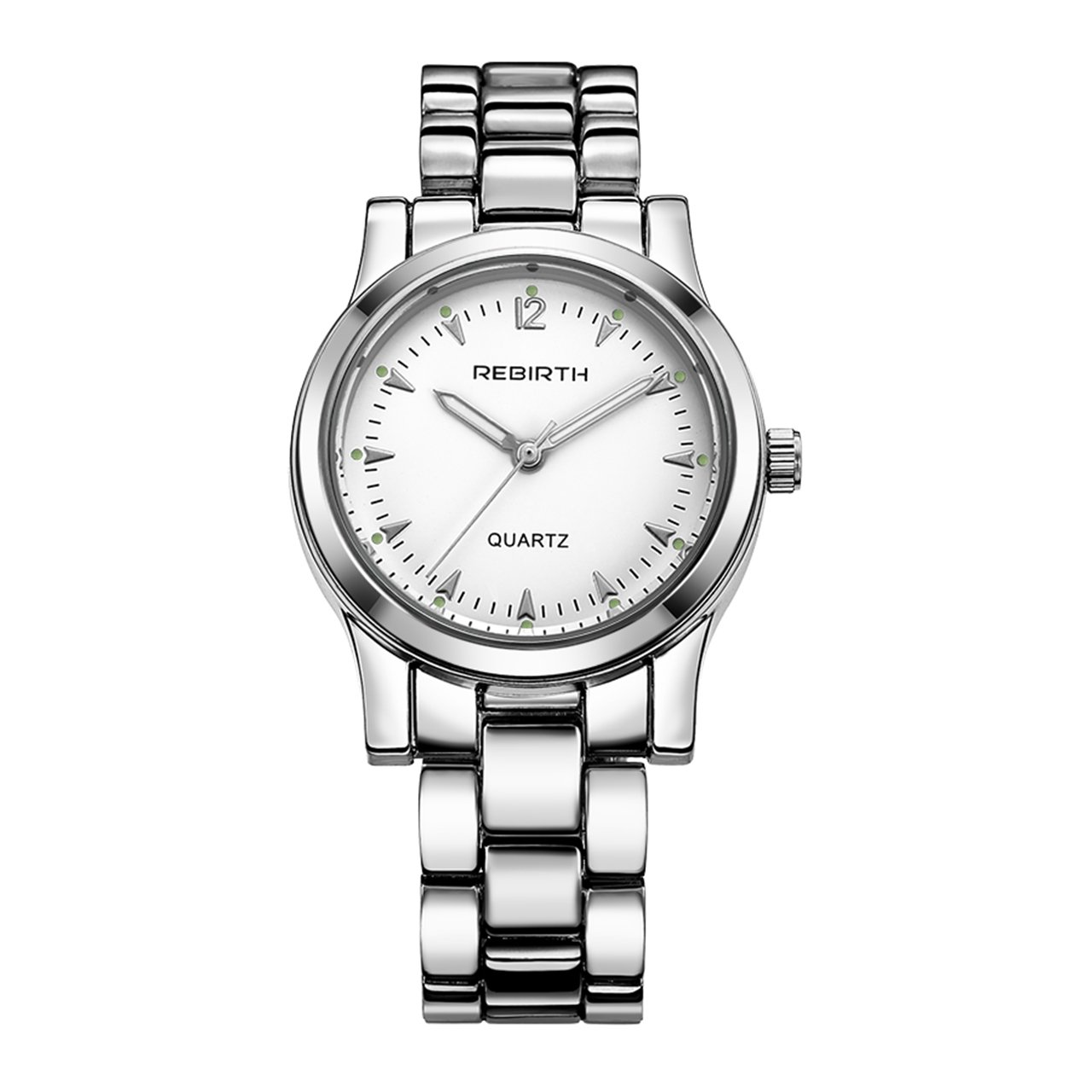 Top Plaza Women Classic Luxury Bracelet Watch Arabic Numeral Solid Alloy Strap Jewelry Hidden Buckle Analog Quartz Watch 3ATM Waterproof(Silver Tone White Dial)