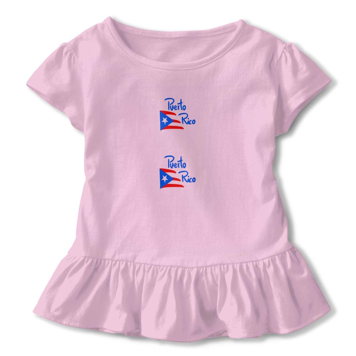 Puerto Rico Toddler Girls Round Neck Ruffle Short Sleeves Top Tunic for Home School As Gift for Children Pink