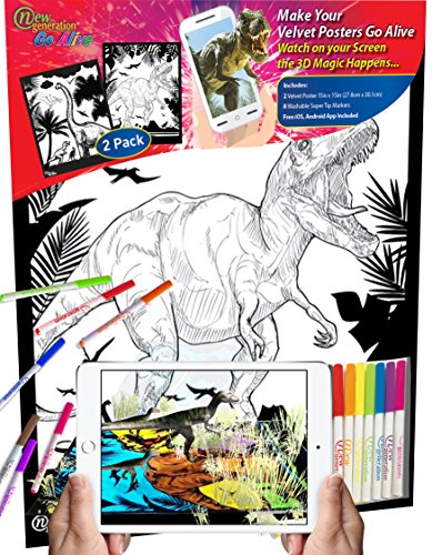 Animated Color (New Generation GO Alive - DINOSAUR - 11x15 inch Velvet Posters Color and watch A Magical Animated Show on YOUR Creativity, Scan the poster with your smartphone or tablet to open another 4D dimension)