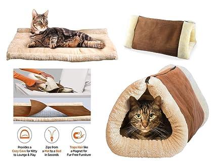 Kitty Shake 2en 1Tubo gato Mat y cama grande), Pet cama con cojín térmico