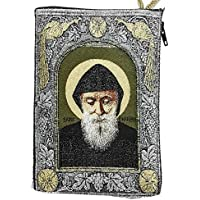 Saint ST Charbel Makhluf Rosary Icon Pouch Tapestry Prayer Keepsake Case 5.7