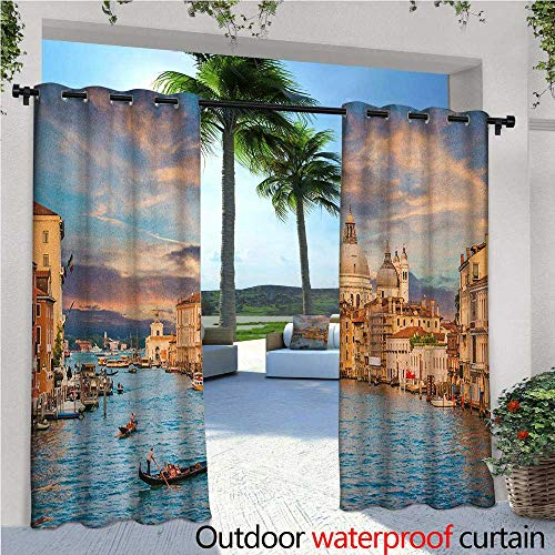 ide Curtains Gondola on Famous Canal Grande with Basilica di Santa Maria Della Salute in Evening for Patio Light Block Heat Out Water Proof Drape W84 x L84 Blue Cream ()
