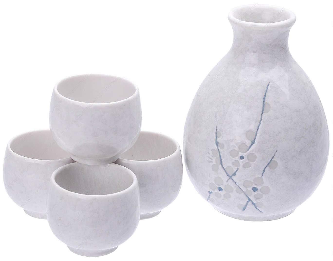 Happy Sales HSSS-WHCH33, Japanese Sake set Sake Server Sake Cups, White Cherry Blossom