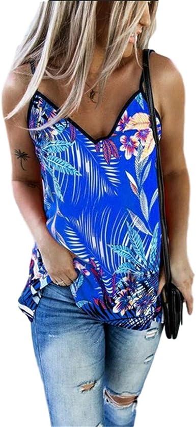 Fansu Camisetas Mujer Manga sin Top Corto Suelto Verano Blusa Impreso Casual sin Mangas Blusa Cami Camisas Camiseta Chaleco Tops para Mujeres Dama