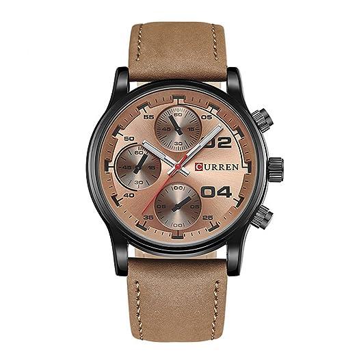 Big Dial Men CURREN Relojes Cuarzo Militar Reloj de pulsera Hombres Reloj Negro Reloj para hombre Relogio Masculino: Amazon.es: Relojes