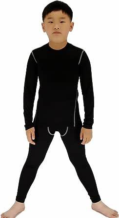 LANBAOSI Conjunto de ropa interior térmica para niños y niñas de secado rápido