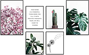 Bold Grup Premium Set of Posters | Nature Photos and Quote Prints Wall Decor | Wall Art for Living Room Bedroom and Kitchen| 2 x 11''x17'' and 4 x 8.5''x11'' | Without Frames (Pink)