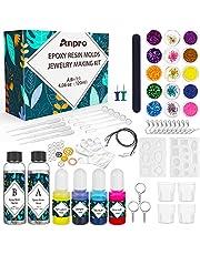 Anpro Epoxyhars-set, transparant, met knutselgereedschap zoals pigment en maatbekers, gebruikt voor het maken van sieraden, reparatie van wandtegels of vloeren