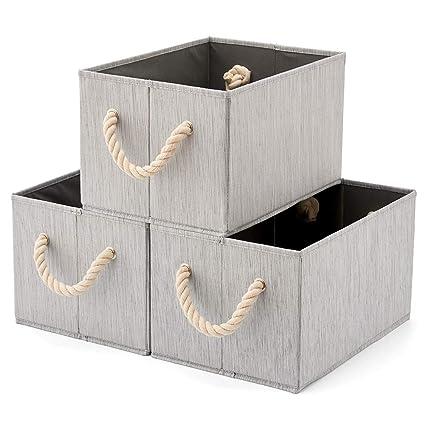 EZOWare 3 pcs Cajas de Almacenaje, Caja Decorativa de Tela Plegable Resistente con Manijas para Ropa, Juguetes, Armario, Dormitorio, Estanterías y ...