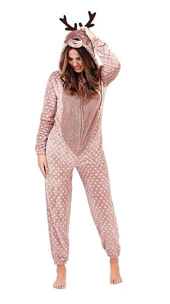 Aumsaa - Pijama de una Pieza - para Mujer Marrón marrón XL: Amazon.es: Ropa y accesorios