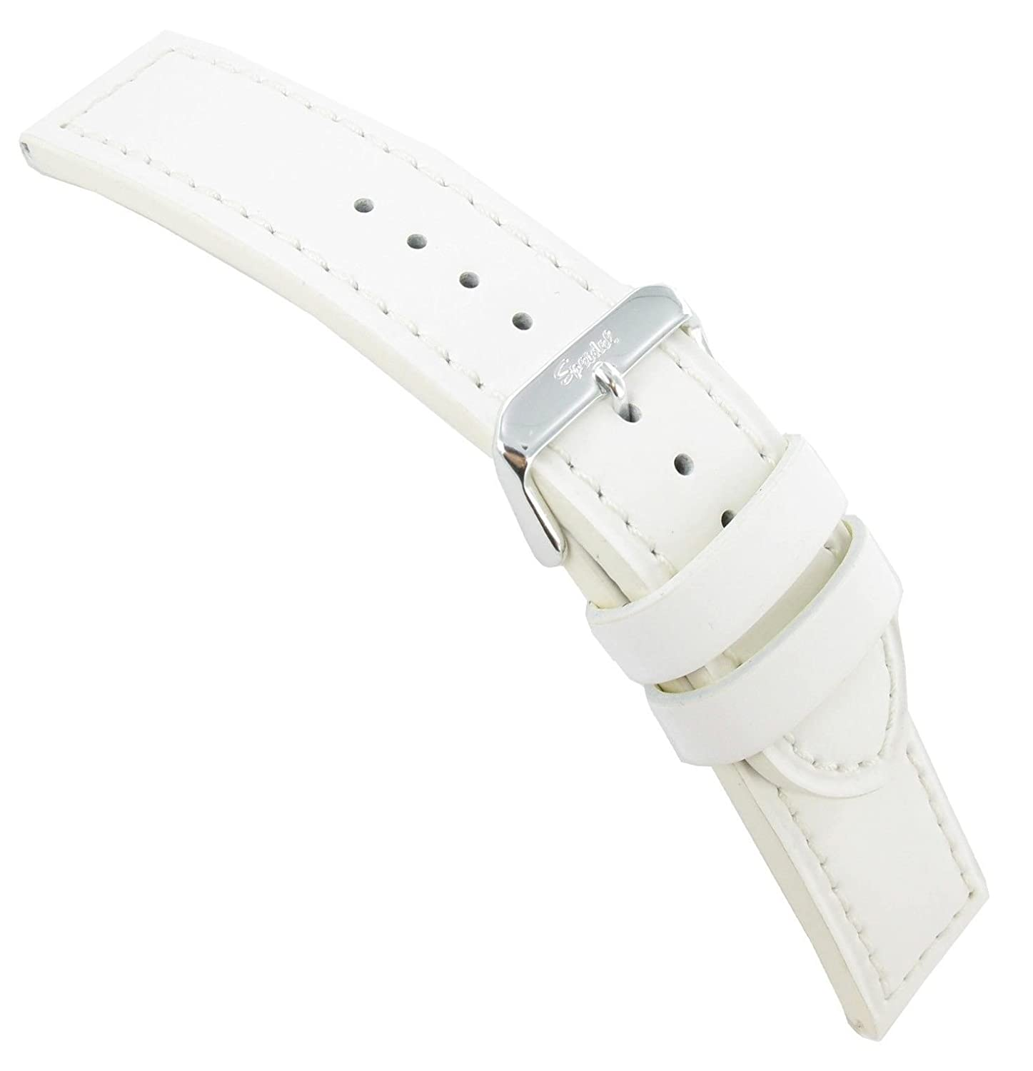 24 mm SpeidelホワイトSmooth Silicone Layered Over Genuine Calfskin Watch Band Long  B00GO8MTSS