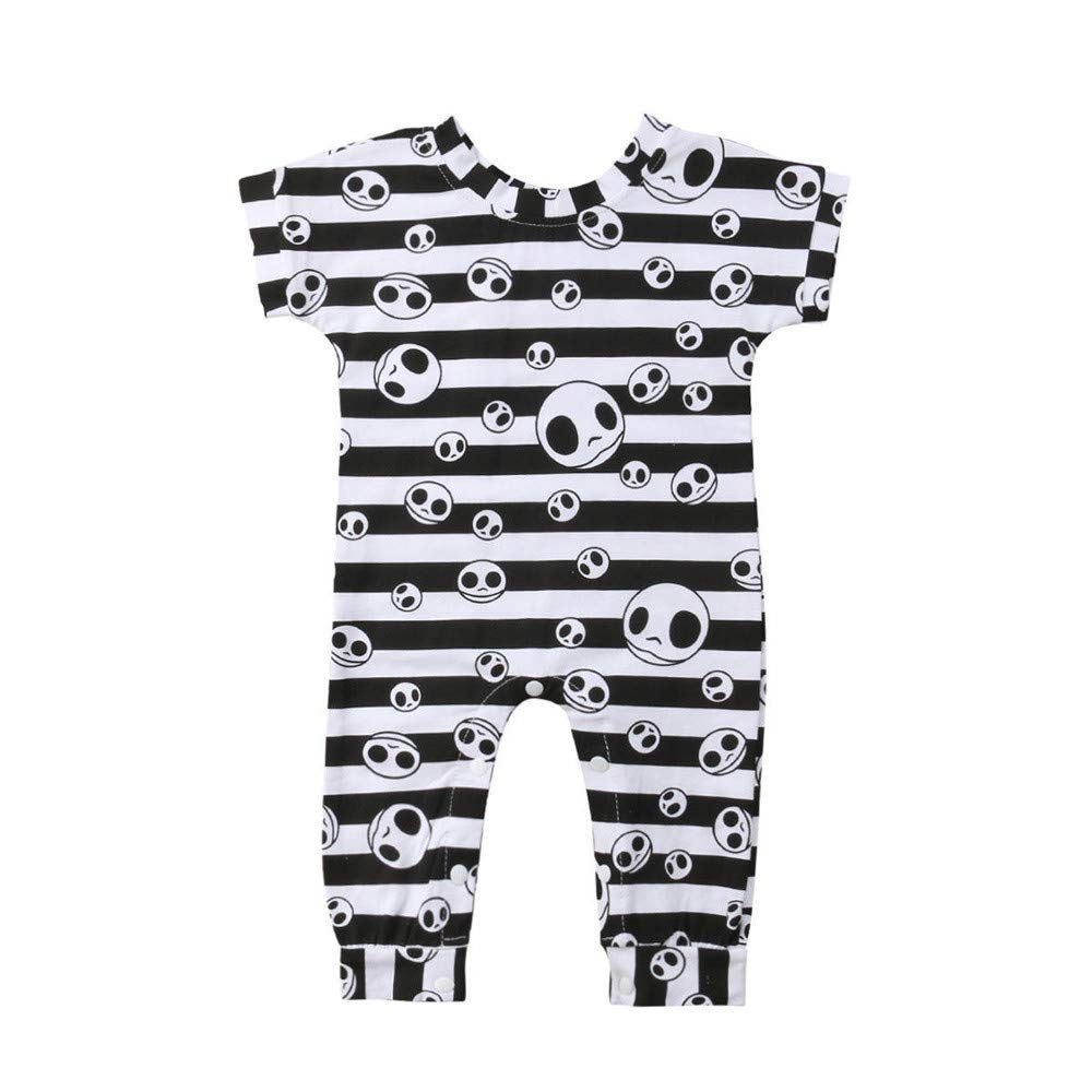 BHYDRY Halloween Newborn Baby Girl Boy Clothes Striped Skull Romper Jumpsuit Costume
