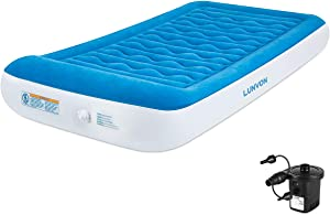 "Lunvon Twin Air Mattress for Home and Camping Self Inflatable Pad Blow Up Bed with Built-in Pillow Anti-Leakage Raised Airbed with Rechargeable Pump for Guest, Height 10"", 2-Year Warranty"