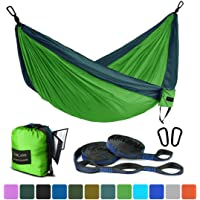 Farland Single & Double Camping Hammock with Tree Straps, Lightweight Portable Parachute Nylon Hammock for Outdoor Backpacking Travel