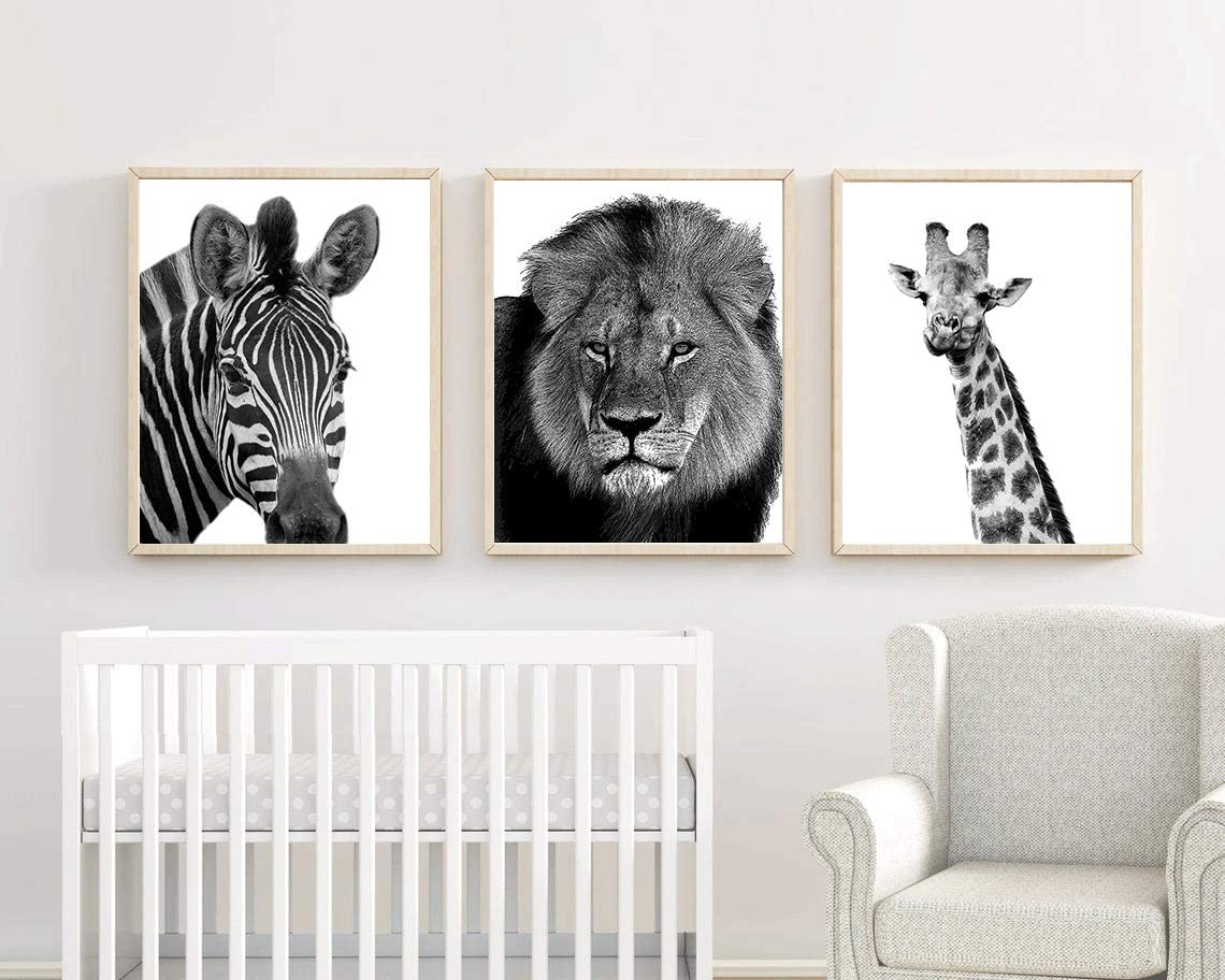 "Safari Animal Prints Digital Black and White Safari Art Painting Set of 3 (8""X10"" Canvas Picture) Minimalist Art Set, Wall Art Print Poster for Nursery or Kids Boys Room Home Decor,No Frame"