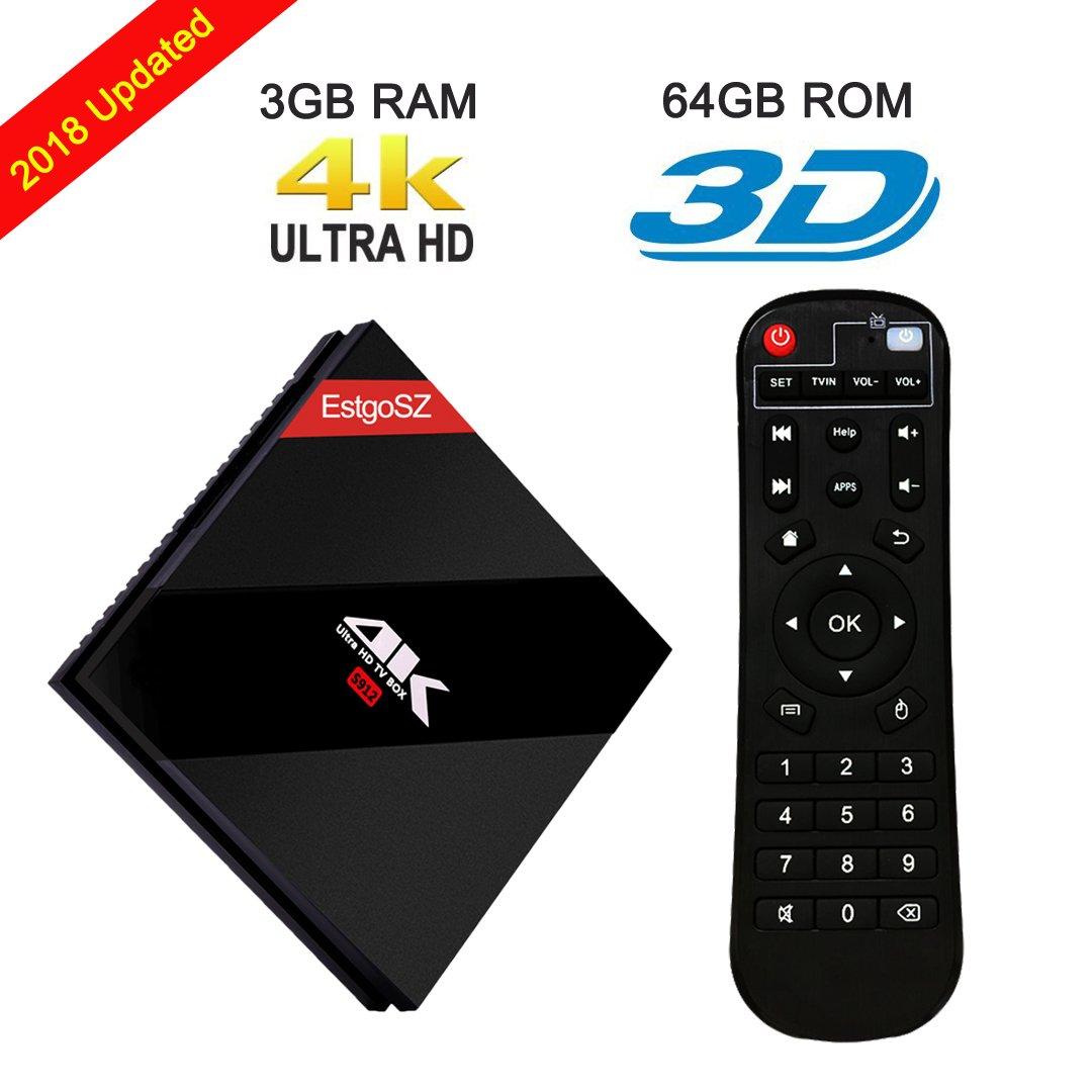Powerful Android 7.1 OS TV Box, EstgoSZ [ 3GB RAM + 64GB ROM] TV Box with Amlogic S912 Octa Core 64 bits CPU Support Dual Band WIFI & BT 4.1 & Ethernet 100M/1000M LAN Set Top Box