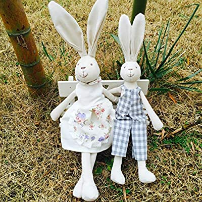 GRANDFINE Luxury Handmade Easter Bunny Boy Fabric Doll, Cotton Linen Rabbit Stuffed Animal Toys with Removable Clothes, Birthday Gift for Baby 27cm: Toys & Games