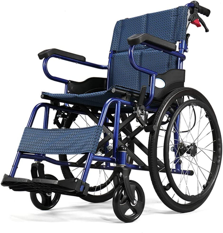 KAD Ancianos Silla de Ruedas Plegable de Peso Ligero de Conducción Médica, Discapacitados con Silla de Ruedas de la Carretilla Discapacitados Vespa Sillas de Ruedas Travel Ancianos Portátil a