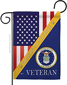 Air Force Home of Garden Flag Armed Forces USAF United State American Military Veteran Retire Official Small Decorative Gift Yard House Banner Double-Sided Made in USA 13 X 18.5