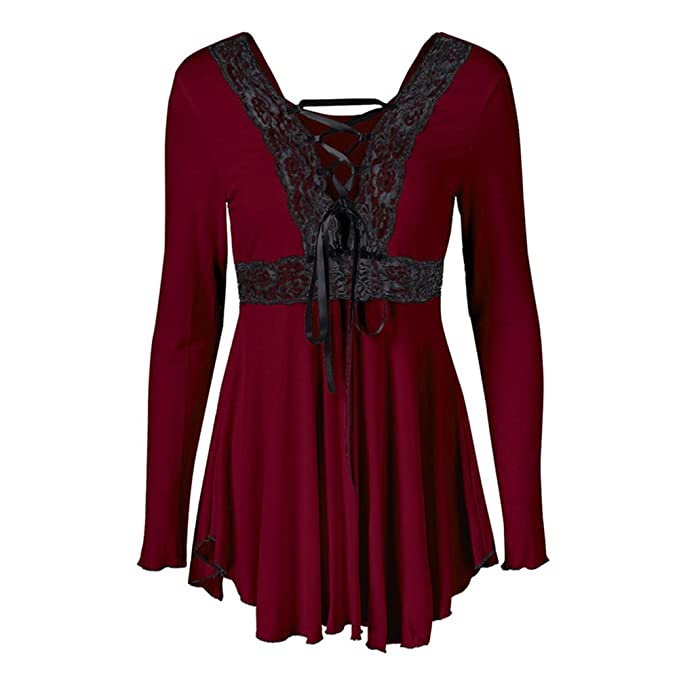 Hibote Plus Size Mujeres Vintage Blusas Gothic T-Shirts Camisas Plain Manga Larga Tops Cuello Redondo Cassual Long Camisas Mini Vestir A-Line Slimming ...