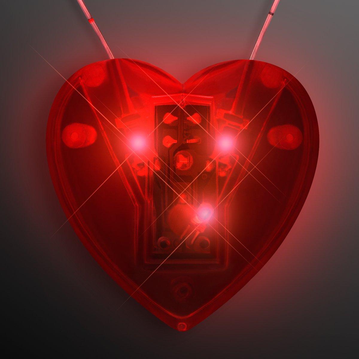 Red Flashing LED Light Up Heart Necklace (Set of 12)