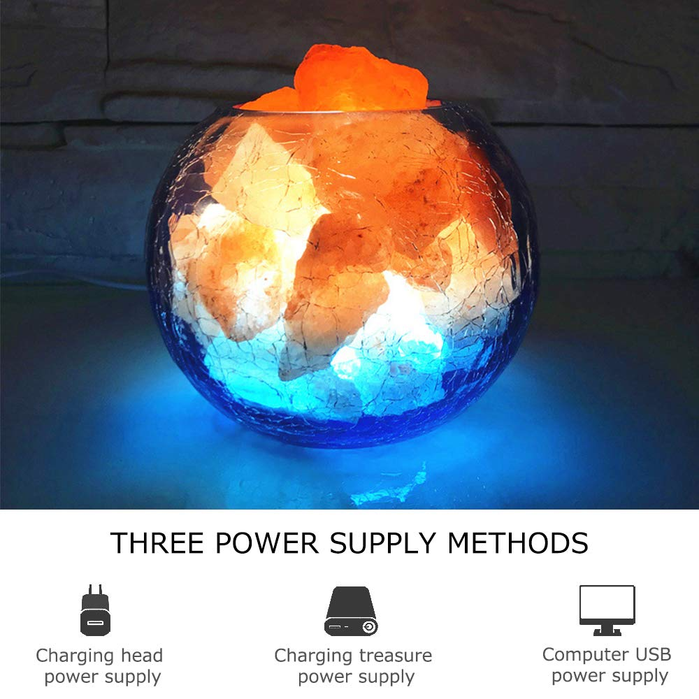 LUCKSTAR Natural Himalayan Crystal Salt Lamp- USB Natural Salt Crystal Chunks with Stripe Indoor Decoration Dimmer Switch Soft Warm Healthy Negative Ion Air Purifying Lamp,Table Lamp Bedroom Lava Lamp by LUCKSTAR (Image #3)