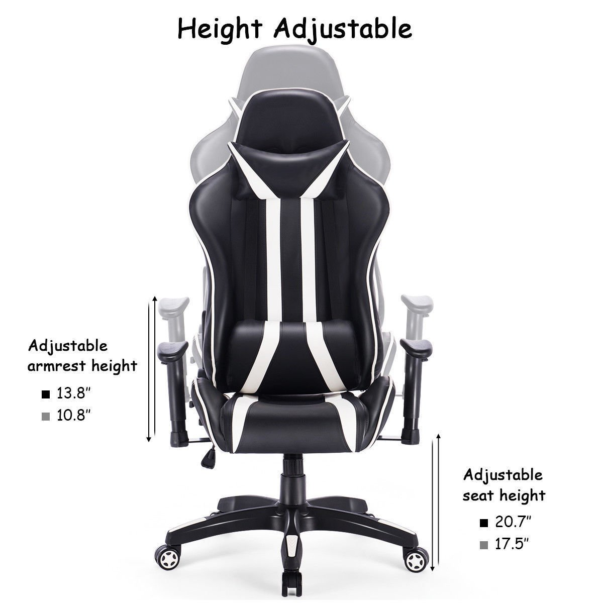 Colibrox gaming chair racing high back reclining chair computer swivel office desk taskvideo game chairs living room accent chairsnew racing style