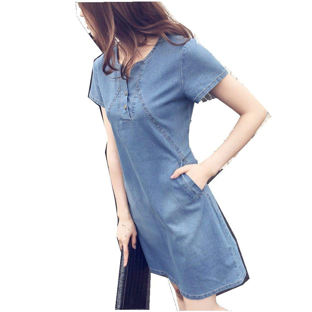 09f956bb7fb4 Women Denim Dress Plus Size Short Sleeve Henley Neck Casual Shirt Dress at  Amazon Women's Clothing store: