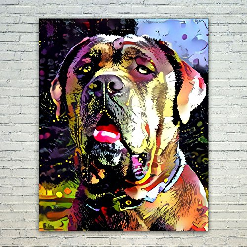 tan Mastiff - 20x24 Poster Print Wall Art - Abstract Artwork Home Decor Office Birthday Christmas Gift - Unframed 20x24 Inch ()