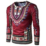 #10: Annystore Mens Long Sleeve Bright Traditional African Clothing Dashiki T Shirts