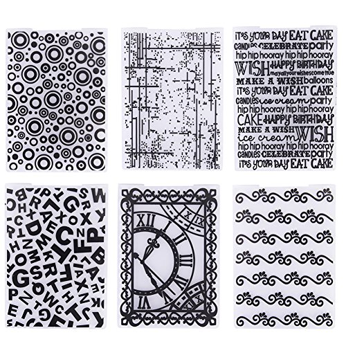 Buytra Plastic Embossing Folder Template for Card Making, Scrapbooking, Envelopes, Album Paper DIY Crafts, Pack of 6, Including Birthday, Letters, Dots, Circle, Clock, Ripple