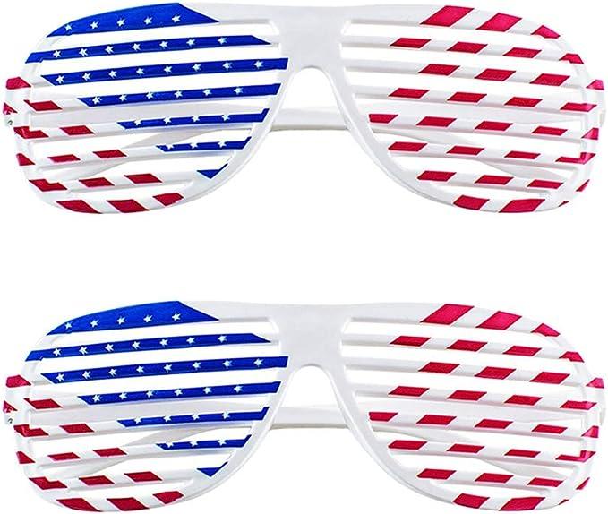 Amosfun 2 Unids Bandera Americana Contraventanas Gafas De Plástico ...