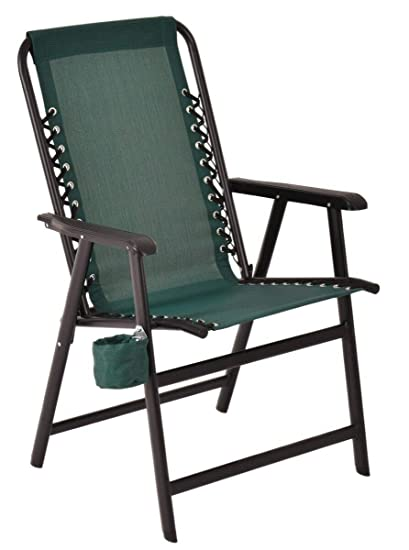 2061c0a5bf Amazon.com : Green Folding Outdoor Arm Chair Steel Frame W/ Cup ...