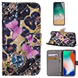 For iphone X Case with Card Slot,OYIME [Pink Butterfly] 3D Glitter Pattern Design Bookstyle Leather Wallet Holster Kickstand Function Full Body Protective Bumper Magnetic Closure Flip Cover with Wrist Lanyard and Screen Protector