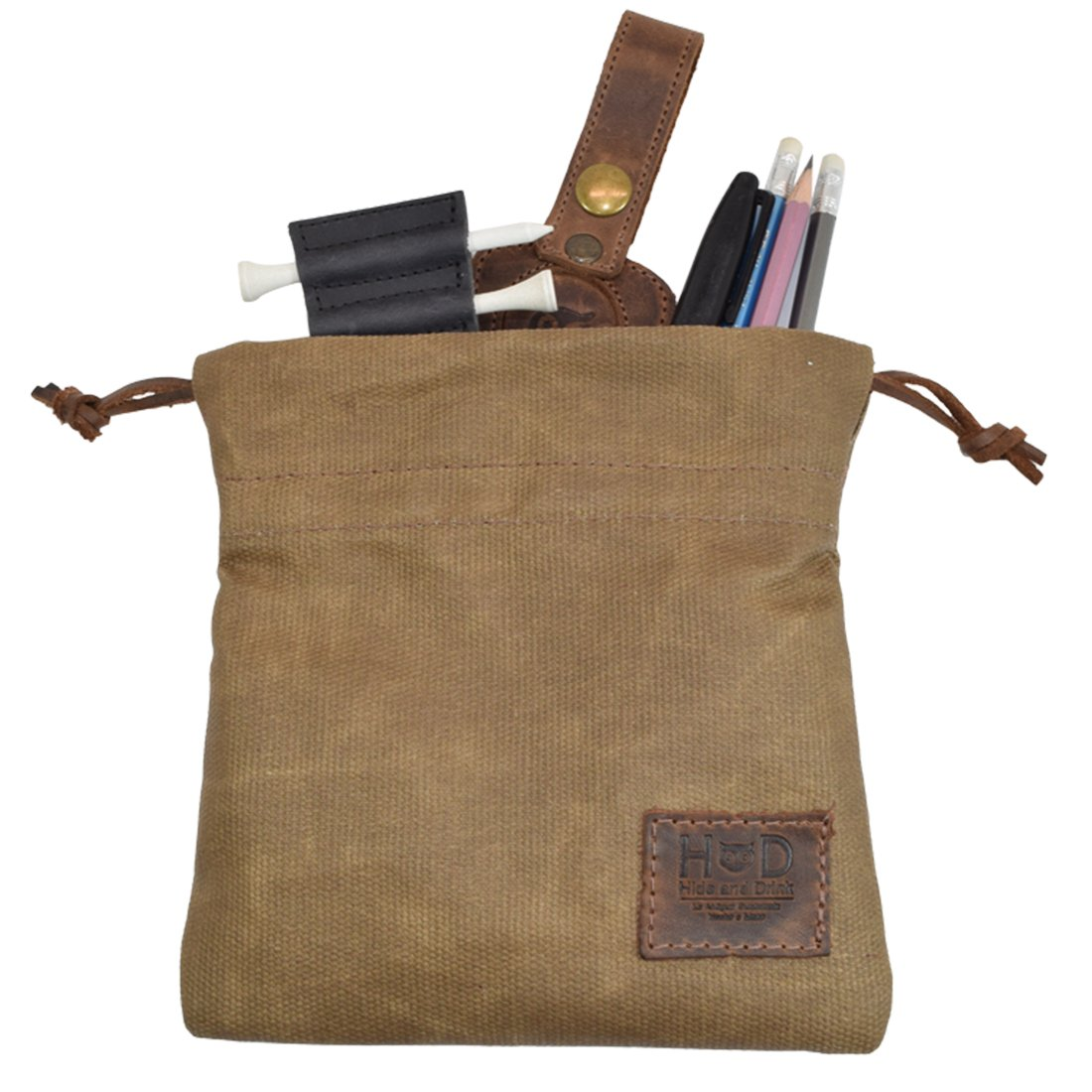 Hide & Drink Waxed Canvas Golf Valuables Field/Travel / Tech/Board Game Dice Pouch Handmade by Fatigue