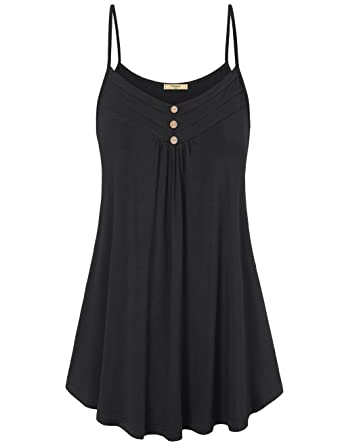 9eb1e3b126285a Viracy Women s Summer Button V Neck Pleated Spaghetti Strap Camisole ...