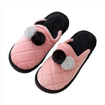 WODENINEK Invierno Encantador Dibujos Animados Zapatillas De Algodon Hembra Suela Gruesa Casa Interior Zapatos Hombres Antideslizante Pareja,Pink,36/37: ...