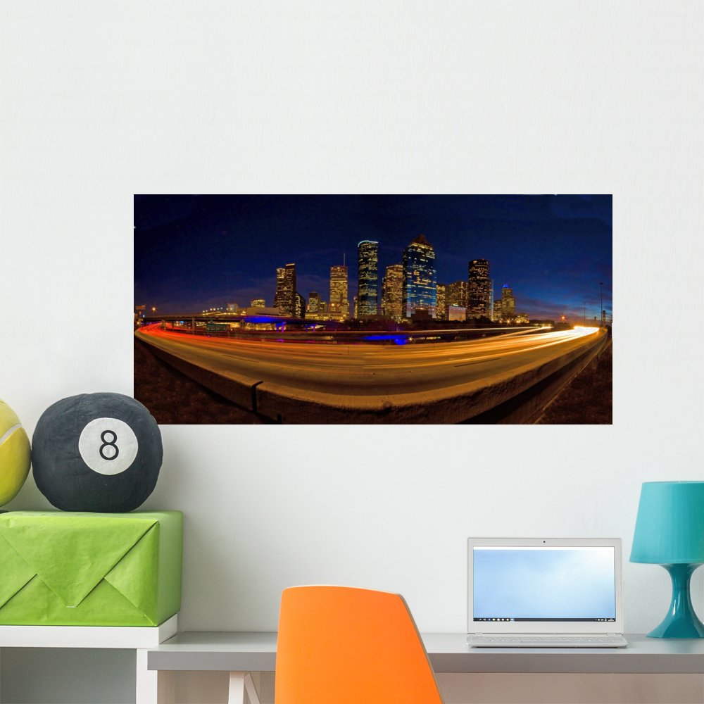 Amazon com wallmonkeys houston skyline after sunset buildings surrounded highways wall decal peel and stick graphic wm157643 60 in w x 29 in h home