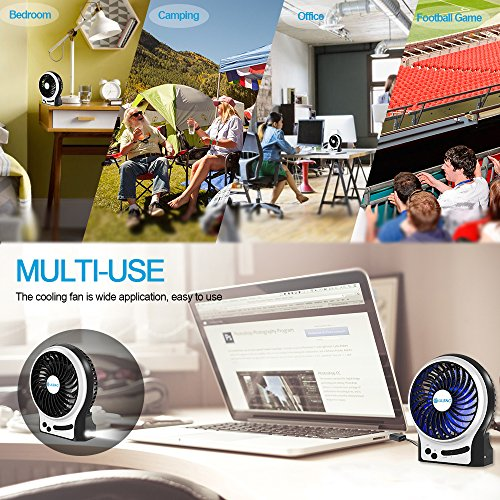 BENGOO Mini Desk Fan Portable Personal Cooling Fan USB Fan with Light Mode Powered by Rechargeable Battery for Office Traveling Household Use (Remove the Plastic film in the Battery Case before Use) by BENGOO (Image #6)